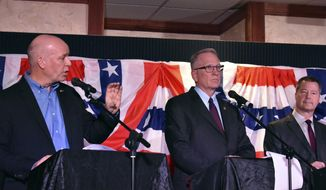 FILE - In this Jan. 23, 2020, file photo, U.S. Rep. Greg Gianforte, left, speaks during a Republican gubernatorial primary debate as Attorney General Tim Fox, center, and state Sen. Al Olszewski listen in Billings, Mont. Republicans are seeking to end 16 consecutive years with a Democrat in the governor's office when current Gov. Steve Bullock completes his second term. The winner of the Republican gubernatorial primary will take on the winner of the Democratic race between Lt. Gov. Mike Cooney and first-time candidate Whitney Williams. (AP Photo/Matthew Brown, File)
