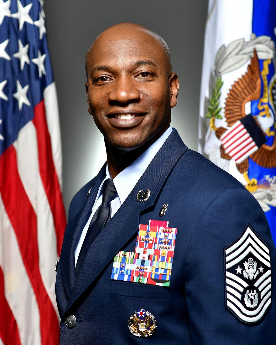 Chief Master Sergeant of the U.S. Air Force Kaleth O. Wright, is shown here in his official Defense Dept. photo. (https://www.af.mil/About-Us/Biographies/Display/Article/1087249/chief-master-sergeant-of-the-air-force-kaleth-o-wright/)
