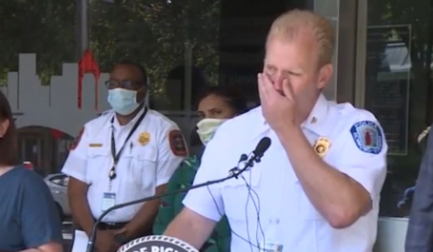 Richmond, Virginia, Police Chief Will Smith choked back tears during a press conference in describing how rioters torched a home with a child inside and then blocked firefighters from responding on May 30, 2020. (screengrab via WTVR)