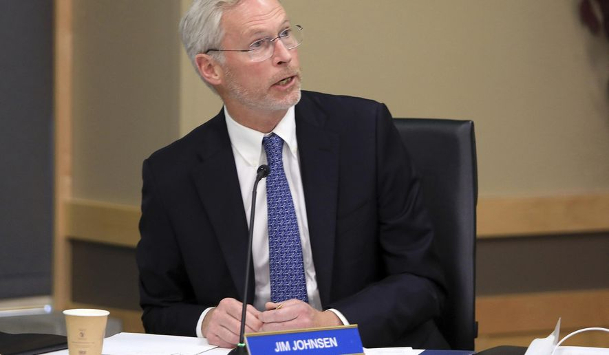 FILE - In this July 30, 2019, file photo, University of Alaska President Jim Johnsen speaks at a UA Board of Regents meeting in Anchorage, Alaska. Johnsen was announced Tuesday, June 2, 2020, as the sole finalist for the University of Wisconsin System president opening. (AP Photo/Dan Joling, File)