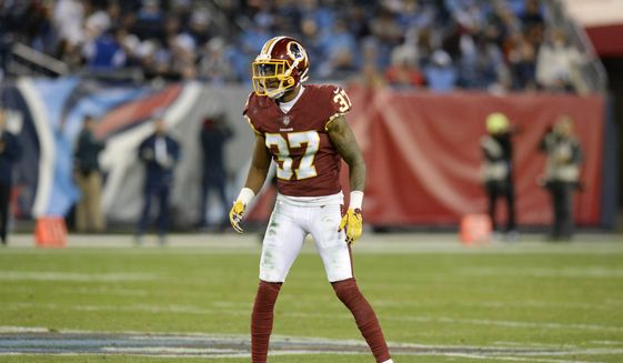 Washington Redskins cornerback Greg Stroman plays against the Tennessee Titans in the second half of an NFL football game Saturday, Dec. 22, 2018, in Nashville, Tenn. The Titans won 25-16.(AP Photo/Mark Zaleski)  **FILE**