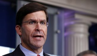 In this April 1, 2020, file photo, Defense Secretary Mark Esper speaks about the coronavirus in the James Brady Press Briefing Room of the White House in Washington. (AP Photo/Alex Brandon, File)