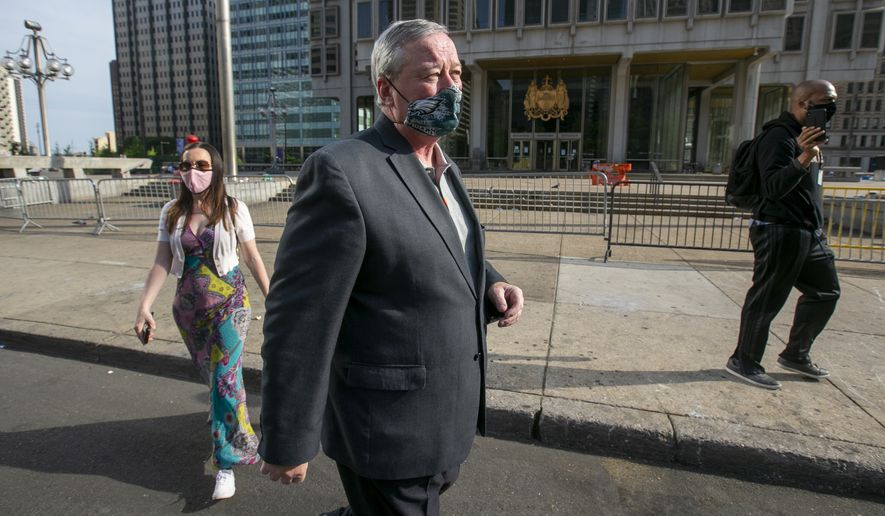 Philadelphia Mayor Jim Kenney arrives for a news conference regarding the removal of the Rizzo statue on Wednesday, June 3, 2020 in Philadelphia. Kenney had said Monday he planned to move the statue later this month after it was defaced during a weekend protest over the death of George Floyd. The statue was frequently targeted by vandals and there have been calls in recent years to remove the figure of the former mayor.  (Alejandro A. Alvarez/The Philadelphia Inquirer via AP) **FILE**