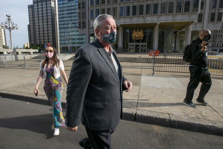 Philadelphia Mayor Jim Kenney arrives for a news  conference regarding the removal of Rizzo statue on Wednesday, June 3, 2020 in Philadelphia.  Kenney had said Monday he planned to move the statue later this month after it was defaced during a weekend protest over the death of George Floyd. The statue was frequently targeted by vandals and there have been calls in recent years to remove the figure of the former mayor.  (Alejandro A. Alvarez/The Philadelphia Inquirer via AP)