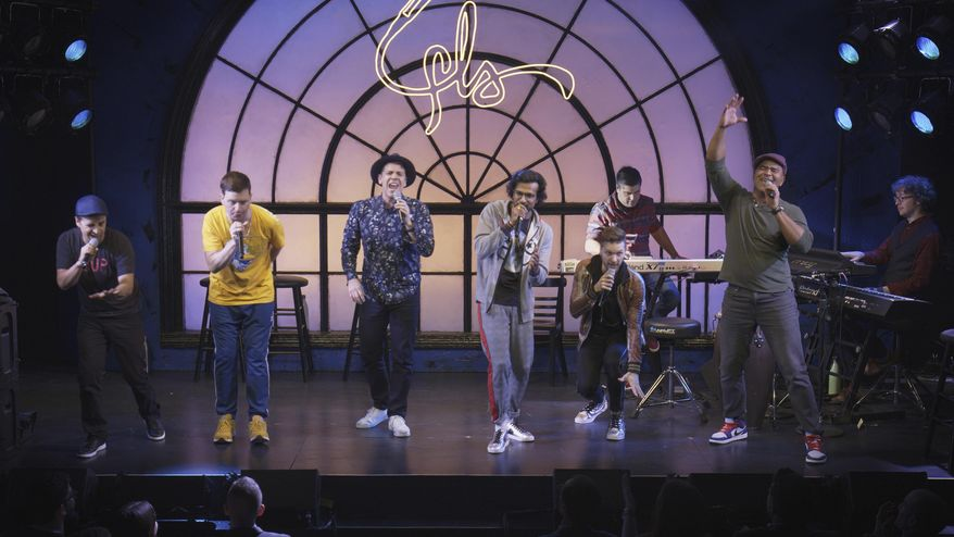 """This image released by Hulu shows a scene from """"We Are Freestyle Love Supreme."""" (Hulu via AP)"""