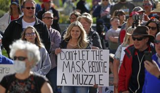 FILE - In this April 18, 2020, file photo, people gather during the Utah Business Revival rally, which wants Utah's economy to be re-opened, in Salt Lake City. A Utah judge has blocked a concert protesting coronavirus restrictions, siding with county health officials who said the event expected to attract thousands of people could worsen the pandemic. Judge Dianna Gibson decided Friday, May 29, 2020, said there was a real risk of spreading the virus among the audience and others they could bring it back to. The decision came hours after Utah marked its largest single-day increase in coronavirus cases. (AP Photo/Rick Bowmer, File)