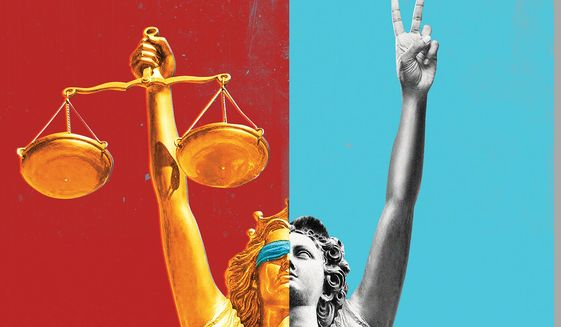 Justice and Peace Illustration by Linas Garsys/The Washington Times