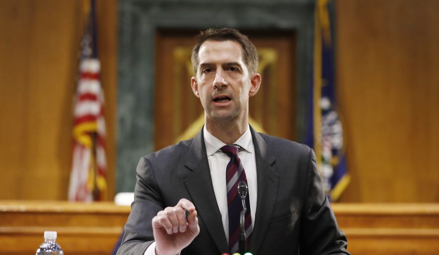 In this May 5, 2020, file photo Sen. Tom Cotton, R-Ark., speaks during a Senate Intelligence Committee nomination hearing for Rep. John Ratcliffe, R-Texas, on Capitol Hill in Washington. (AP Photo/Andrew Harnik, Pool, File)