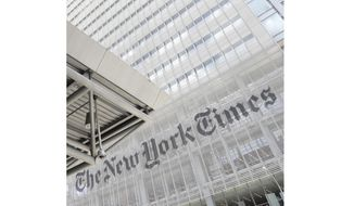 This June 22, 2019, photo shows the exterior of the New York Times building in New York. Some staff members at The New York Times and Philadelphia Inquirer called in sick to protest editorial decisions they found insensitive about protests over George Floyd's death. (AP Photo/Julio Cortez) **FILE**