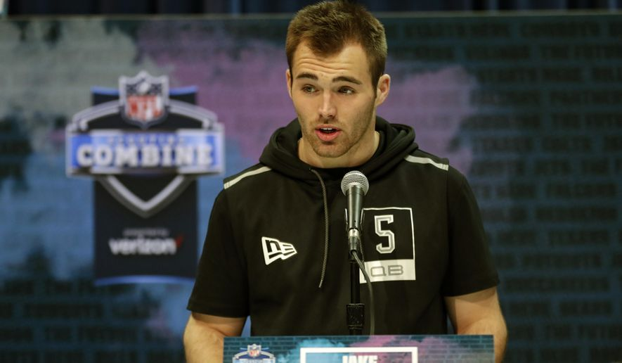 """FILE - In this Feb. 25, 2020, file photo, Georgia quarterback Jake Fromm speaks during a press conference at the NFL football scouting combine in Indianapolis. Buffalo Bills rookie quarterback Jake Fromm apologized for using the phrase """"elite white people"""" in a text conversation from more than a year ago, and posted on social media early Thursday morning, June 4, 2020. The former Georgia starter posted his apology on his Twitter account, in which he wrote: """"I'm truly sorry for my words and actions and humbly ask for forgiveness."""" (AP Photo/Michael Conroy, File)"""