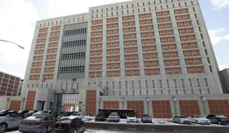 FILE- This Jan. 8, 2017 file photo shows the Metropolitan Detention Center (MDC) in the Brooklyn borough of New York. An inmate at the jail died after being pepper sprayed by officers in his cell, the federal Bureau of Prisons said, Wednesday, June 3, 2020. (AP Photo/Kathy Willens, File)