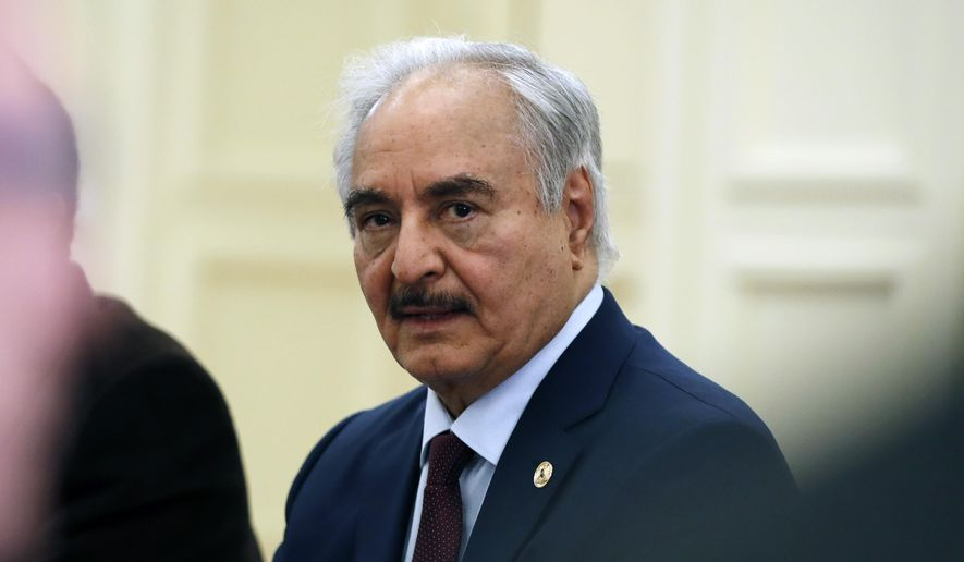In this Jan. 17, 2020, file photo, Libyan Gen. Khalifa Hafter joins a meeting with the Greek Foreign Minister Nikos Dendias in Athens. (AP Photo/Thanassis Stavrakis, File) ** FILE **