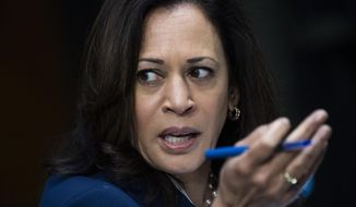 Sen. Kamala Harris, D-Calif., speaks during a Senate Judiciary Committee hearing examining issues facing prisons and jails during the coronavirus pandemic on Capitol Hill in Washington, Tuesday,  June 2, 2020. (Tom Williams/CQ Roll Call/Pool via AP)