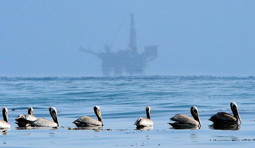 An offshore oil platform in the Santa Barbara Channel, CA