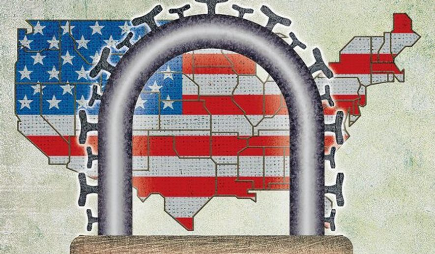 USA Lockdown Illustration by Greg Groesch/The Washington Times
