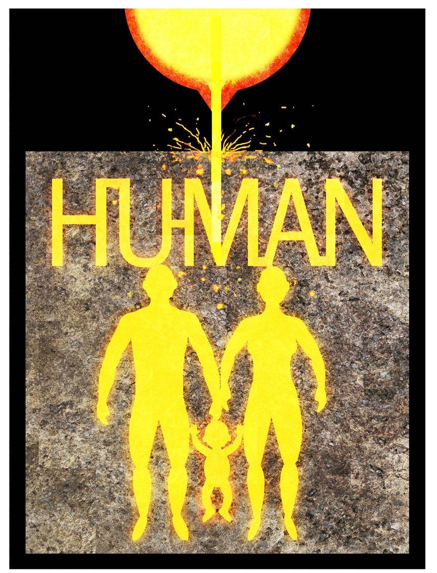 Illustration on the single origin of the human race by Alexander Hunter/The Washington Times