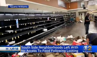"A Chicago grocery store is in shambles in the wake of widespread looting. Activists say the response to the death of George Floyd has left them with new ""food deserts"" that will add increased stress on the community. (Image: CBS-2 Chicago video screenshot)"
