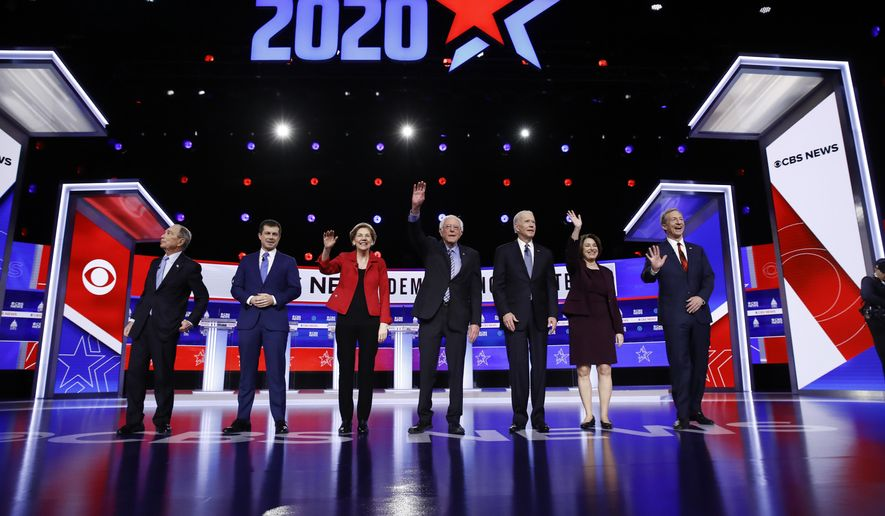 FILE - In this Feb. 25, 2020, file photo from left, Democratic presidential candidates, former New York City Mayor Mike Bloomberg, former South Bend Mayor Pete Buttigieg, Sen. Elizabeth Warren, D-Mass., Sen. Bernie Sanders, I-Vt., former Vice President Joe Biden, Sen. Amy Klobuchar, D-Minn., and businessman Tom Steyer participate in a Democratic presidential primary debate in Charleston, S.C. Biden has won the last few delegates he needed to clinch the Democratic nomination for president. (AP Photo/Matt Rourke, File)