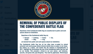 Screen capture from Twitter of the U.S. Marine Corps' announcement banning display of the Confederate flag. Taken June 6, 2020. (Twitter)