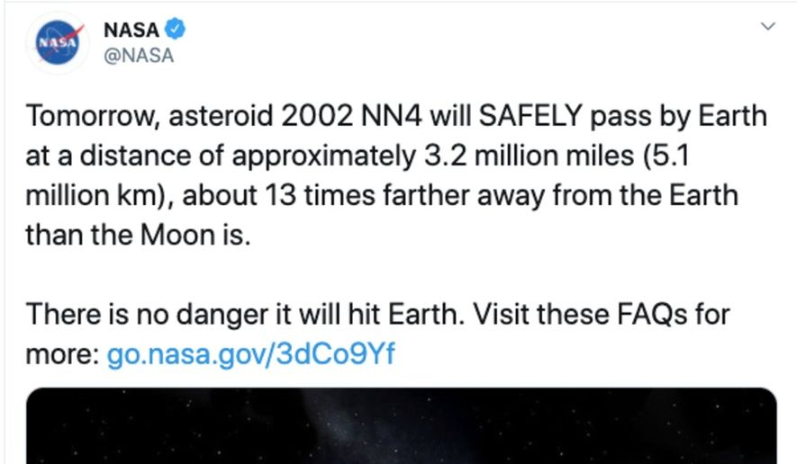 Screen capture from NASA's official Twitter account.