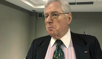 FILE - In this Oct. 9, 2019 file photo shows former West Virginia Supreme Court Chief Justice Richard Neely in Charleston, W.Va. Neely is attempting to win a seat on the state Supreme Court 25 years after he resigned as a justice to join a Charleston law practice.(AP Photo/John Raby, File)