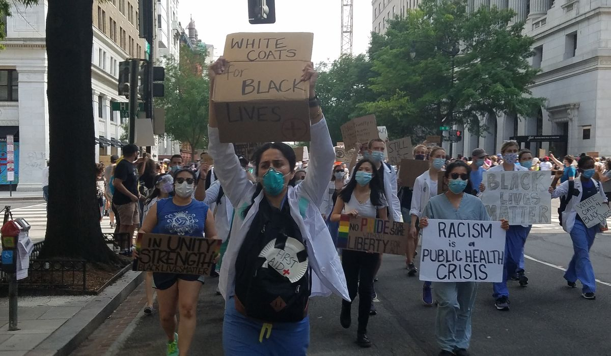 'White coats, black lives': Medical professionals march in D.C. to support Black Lives Matter