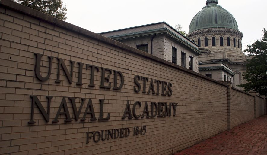 This May 10, 2007, photo shows the U.S. Naval Academy in Annapolis, Md. (AP Photo/Kathleen Lange) **FILE**