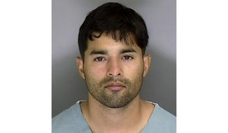 In this Sunday, June 7, 2020, booking mugshot courtesy Santa Cruz Sheriff's Office shows 32-year-old suspect Steven Carrillo, an active-duty U.S. Air Force sergeant arrested on suspicion of fatally shooting Santa Cruz Sheriff's Sgt. Damon Gutzwiller, 38, and wounding two other officers Saturday. (Santa Cruz Sheriff's Office via AP)