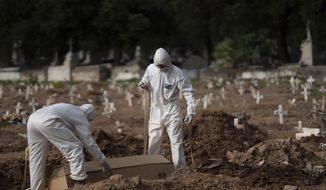 "Cemetery workers in protective clothing maneuver the coffin of 57-year-old Paulo Jose da Silva, who died from the new coronavirus, in Rio de Janeiro, Brazil, Friday, June 5, 2020. According to Monique dos Santos, her stepfather mocked the existence of the virus, didn't use a mask, didn't take care of himself, and wanted to shake hands with everybody. ""He didn't believe in it and unfortunately he met this end. It's very sad, but that's the truth,"" she said. (AP Photo/Leo Correa)"