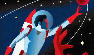 Illustration on the vital space race against China by Linas Garsys/The Washington Times