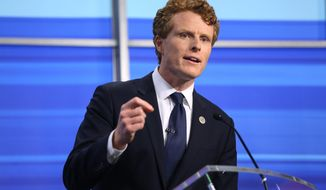 Rep. Joe Kennedy III speaks during a televised debate with Sen. Edward Markey in Boston on Monday, June 8, 2020. Markey and his Democratic primary challenger Kennedy sharpened their elbows as they faced off for a televised debate Monday evening. (Jessica Bradley/WPRI-TV via AP)