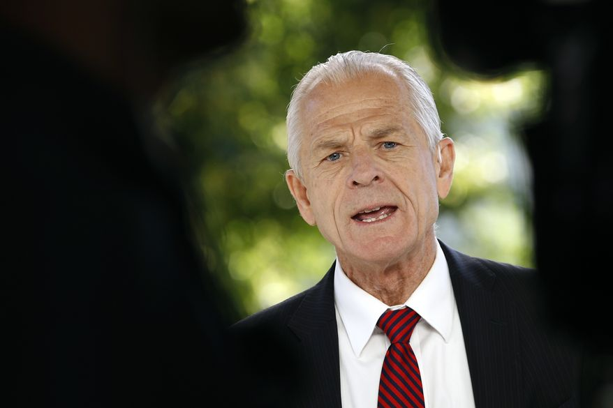 White House trade adviser Peter Navarro speaks during a television interview outside the White House, Monday, June 8, 2020, in Washington. (AP Photo/Patrick Semansky) **FILE**