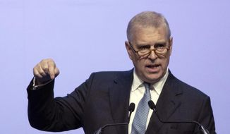 FILE - In this file photo dated Sunday, Nov. 3, 2019, Britain's Prince Andrew delivers a speech during the ASEAN Business and Investment Summit (ABIS) in Nonthaburi, Thailand.  Attorneys representing Britain's Prince Andrew have lambasted U.S. justice authorities, Monday June 8, 2020, for what they described as a violation of commitments to confidentiality in their discussions with him about the late sex offender Jeffrey Epstein.(AP Photo/Sakchai Lalit, FILE)
