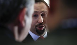 In this Nov. 16, 2016, file photo, Jason Miller, a senior adviser to President-elect Donald Trump, speaks to reporters in New York. Late last month, the Trump campaign moved two veteran political aides into senior leadership roles, reflective of an effort to bring more experience to the campaign team. And on Friday, June 5, 2020, the campaign brought on board former communications chief Miller as a senior adviser as well. (AP Photo/Carolyn Kaster, File)
