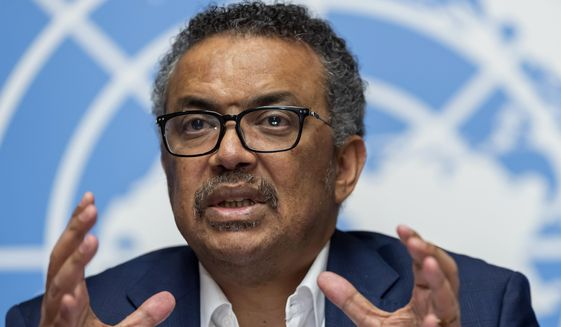 In this March 14, 2019, file photo Tedros Adhanom Ghebreyesus, director-general of the World Health Organization (WHO), speaks at the European headquarters of the United Nations in Geneva, Switzerland. (Martial Trezzini/Keystone via AP) ** FILE **