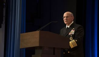 "In this file photo, Chief of Naval Operations (CNO) Adm. Mike Gilday delivers remarks during the retirement ceremony in honor of Steffanie B. Easter, director of Navy Staff.  On Oct. 22, 2020, Adm. Gilday and his counterpart in the United Kingdom's Royal Navy, Admiral Tony Radakin, signed a ""Statement of Intent for Future Integrated Warfighting"" focusing on what they called ""collective efforts to deliver combined seapower.""