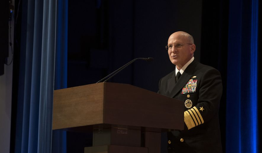 191219-N-BB269-1039 WASHINGTON (Dec. 19, 2019) Chief of Naval Operations (CNO) Adm. Mike Gilday delivers remarks during the retirement ceremony in honor of Steffanie B. Easter, director of Navy Staff. Easter assumed responsibilities as director in June 2018. (U.S. Navy photo by Mass Communication Specialist 1st Class Raymond D. Diaz III/Released)