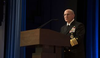 In this file photo, Chief of Naval Operations (CNO) Adm. Mike Gilday delivers remarks during the retirement ceremony in honor of Steffanie B. Easter, director of Navy Staff. 