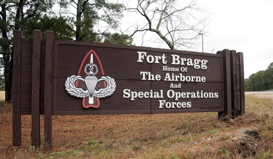 A sign for Fort Bragg, N.C., is shown. (AP Photo/Chris Seward, File)