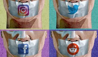 Censorship by Social Media Illustration by Greg Groesch/The Washington Times