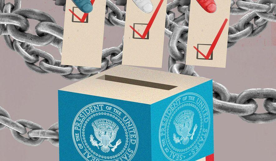 Illustration on voting and liberty by Linas Garsys/The Washington Times