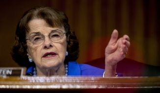 Ranking Member Sen. Dianne Feinstein, D-Calif., speaks during a Senate Judiciary Committee hearing on Capitol Hill in Washington, Tuesday, June 9, 2020, to examine COVID-19 fraud, focusing on law enforcement's response to those exploiting the pandemic. (AP Photo/Andrew Harnik, Pool)