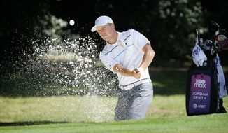 Jordan Spieth hits out of the sand on the eighth hole during practice for the Charles Schwab Challenge golf tournament at the Colonial Country Club in Fort Worth, Texas, Tuesday, June 9, 2020. The Challenge is the first PGA tour event since the COVID-19 pandemic began. (Tom Fox/The Dallas Morning News via AP)