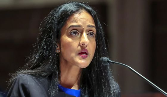 Vanita Gupta, CEO of the Leadership Conference for Civil Rights, speaks during a House Judiciary Committee hearing on proposed changes to police practices and accountability on Capitol Hill, Wednesday, June 10, 2020, in Washington. (Michael Reynolds/Pool via AP)