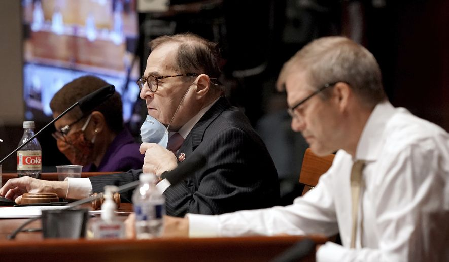 Chairman of the House Judiciary Committee, Rep. Jerrold Nadler, D-N.Y., center, listens during a House Judiciary Committee hearing on proposed changes to police practices and accountability on Capitol Hill, Wednesday, June 10, 2020, in Washington. (Greg Nash/Pool via AP)