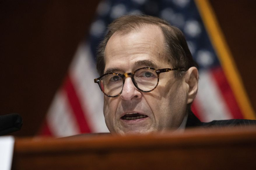 Chairman of the House Judiciary Committee, Rep. Jerrold Nadler, D-N.Y., speaks during a House Judiciary Committee hearing on proposed changes to police practices and accountability on Capitol Hill, Wednesday, June 10, 2020, in Washington. (Graeme Jennings/Pool via AP)
