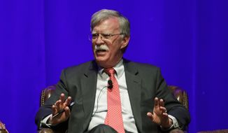 In this Feb. 19, 2020, file photo, former National Security Adviser John Bolton takes part in a discussion on global leadership at Vanderbilt University in Nashville, Tenn. (AP Photo/Mark Humphrey, File)
