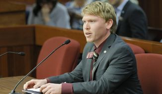 In this  Feb. 15 2017 photo, state Rep. Matt Gurtler, R-Tiger, presents HB 156 to a subcommittee of the Public Safety & Homeland Security Committee in Atlanta. State Rep. Matt Gurtler and Athens gun dealer Andrew Clyde advanced to a runoff in northeast Georgia's 9th Congressional District from a nine-candidate field in the state's primary election Tuesday, June 9, 2020. (Bob Andres/Atlanta Journal-Constitution via AP)