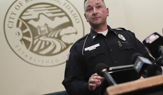 Gary Hagen, assistant chief of the Rexburg Police Department, speaks to the media at the city hall building in Rexburg, Idaho, Tuesday, June 9, 2020. Police say the mother of two missing kids has been found in Hawaii along with her new husband, but there's still no sign of the children in the cross-country investigation that includes several mysterious deaths. (John Roark/The Idaho Post-Register via AP)