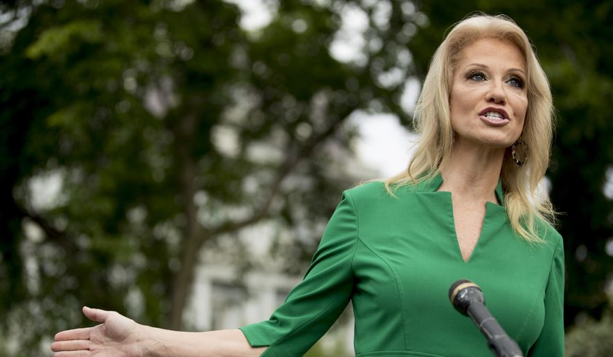 Counselor to the President Kellyanne Conway speaks to reporters on the North Lawn outside the West Wing of the White House in Washington, Wednesday, May 27, 2020. (AP Photo/Andrew Harnik) ** FILE **